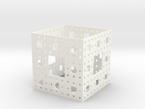 Menger Sponge Tea Light Lantern in White Strong & Flexible Polished