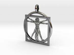 Vitrubian Charm in Antique Silver