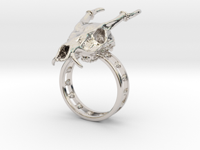 Muntjac Ring (Size 10.5) in Rhodium Plated Brass
