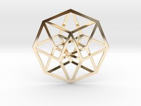 4D Hypercube (Tesseract) in 14K Gold