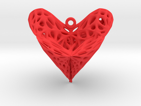 Roman Surface Heart Earring (002) in Red Processed Versatile Plastic