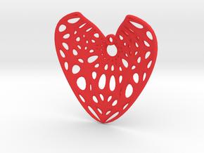 Elliptic Hyperboloid Heart Earring (001) in Red Processed Versatile Plastic