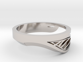 Modern Single Leaf Ring in Rhodium Plated Brass