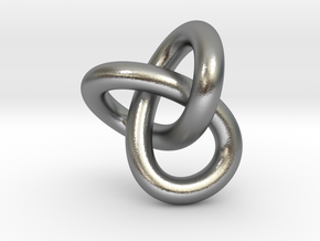 Trefoil Knot 1inch in Natural Silver