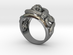 Skull and snakes ring in Polished Silver