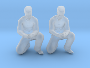 Chinese Man Squatting Hands Closed in Smoothest Fine Detail Plastic: 1:64 - S