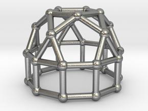 0777 J21 Elongated Pentagonal Cupola (a=1cm) #2 in Natural Silver