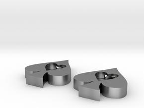Ace Cutouts - Heart/Spade Earrings in Natural Silver
