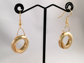 Spiral Ring Earrings in Natural Brass