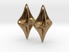 Pinched Silver Earrings in Natural Brass