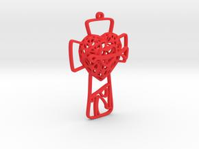Voronoi Heart + Cross + Arrow Earring (001) in Red Processed Versatile Plastic