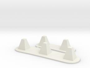 Dragon teeth tank traps in White Natural Versatile Plastic