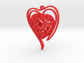 Voronoi Heart + Heart Earring (002) in Red Processed Versatile Plastic