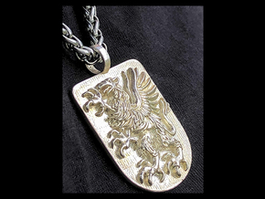 Griffin Heraldic Coat of Arms Pendant. in Polished Silver