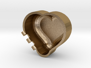 Rounded Heart Box in Polished Gold Steel