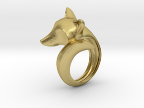 Stylish decorative fox ring in Natural Brass