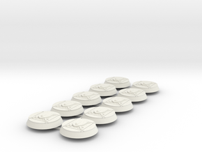 Blood and Shield 32mm bases x10 in White Natural Versatile Plastic