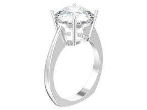 simple solitaire ring with one gemstone  in Polished Silver