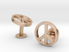 Peace Cufflinks in 14k Rose Gold Plated Brass