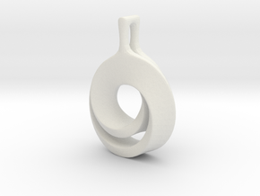 Möbius pendant in White Natural Versatile Plastic: Extra Small