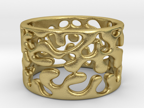 Monstera Ring Brass S8 in Natural Brass
