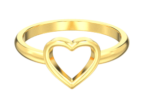 Simple open heart ring in 14K Yellow Gold