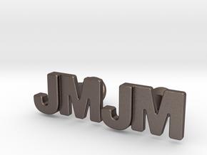 Monogram Cufflinks JM in Polished Bronzed-Silver Steel
