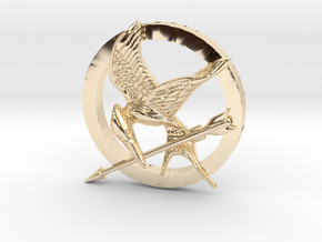 Mocking Jay Pendant in 14K Yellow Gold