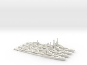 German Type 1936A Destroyer (x4) in White Natural Versatile Plastic