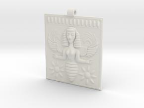 Etruscan Bee Goddess Pendant in White Natural Versatile Plastic