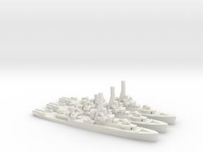 British River-Class Frigate in White Natural Versatile Plastic: 1:1800