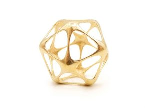 Icosahedron Pendant - Yin - Platonic Solids in Natural Brass