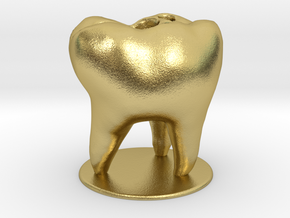 Tooth Toothbrush Holder in Natural Brass