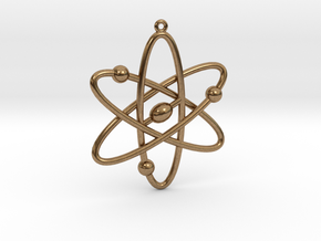 Atom Keychain or Pendant in Natural Brass