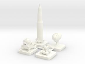 Mini Space Program, Apollo Program, 4-set in White Processed Versatile Plastic