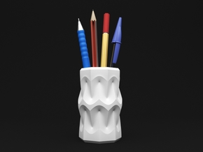 Curvilinear Pencil Holder in White Natural Versatile Plastic