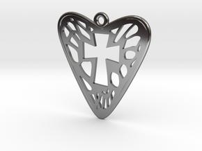 Voronoi Heart+Cross Earring (001) in Fine Detail Polished Silver