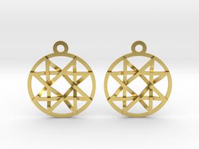 The Signet of Melchizedek Earrings in Polished Brass