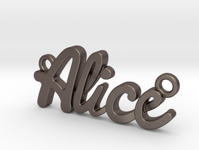 Name Pendant - Alice in Polished Bronzed-Silver Steel