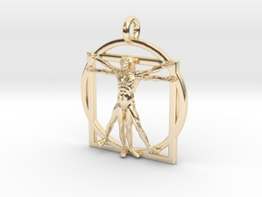Vitruvian Man Small Pendant in 14k Gold Plated Brass