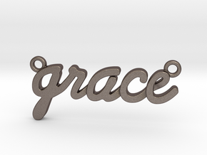Name Pendant - Grace in Polished Bronzed-Silver Steel