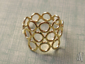 Round Bee Open 3S Ring in 14k Gold Plated: 10 / 61.5