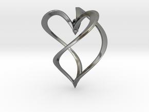 Earring heart in Polished Silver