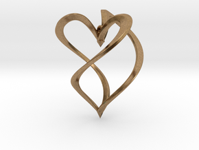 Earring heart in Natural Brass