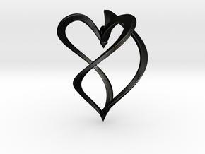 Earring heart in Matte Black Steel