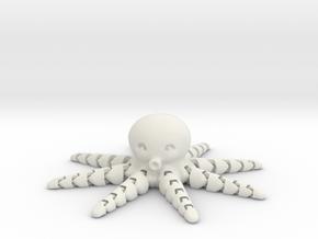 Cute Articulated Mini Octopus in White Natural Versatile Plastic