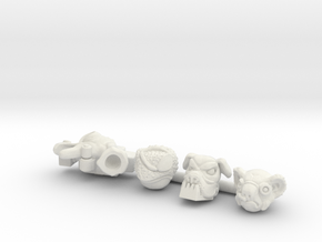 Mutant Leaders 4-Pack (Multisize) in White Natural Versatile Plastic: Extra Small