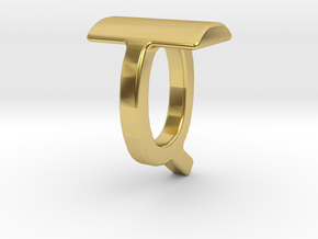 Two way letter pendant - QT TQ in Polished Brass