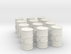 Power Grid Yellow Uranium Barrels, Set of 12 in White Natural Versatile Plastic