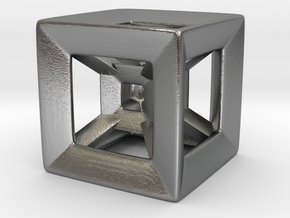 Wireframe Tesseract Hypercube (Die-sized) 15mm in Natural Silver